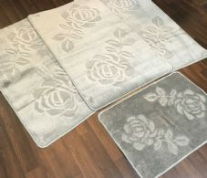 ROMANY WASHABLE TRAVELLERS MATS 4PC SET NON SLIP REGULAR SIZE SILVER-GREY ROSE
